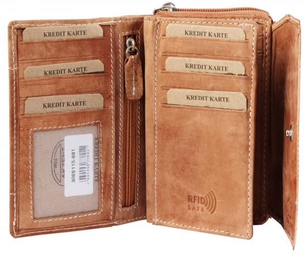 Akzent Damen Geldbörse aus Echtleder Portmonnaie Format 14 x 9 cm 3000113