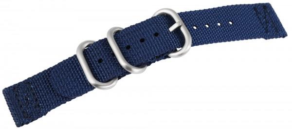 Uhrenarmband aus Nylon, dunkelblau mit Edelstahldornschließe