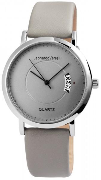 Leonardo Verrelli Herren – Uhr Lederimitationsarmband Datum Analog Quarz 2900106