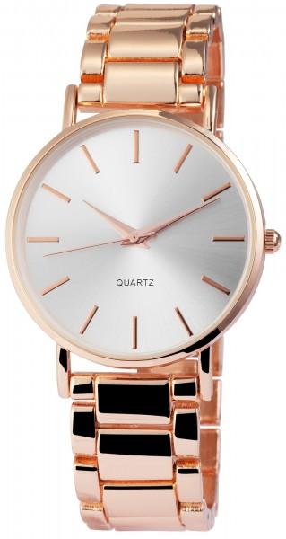 Excellanc Damen-Uhr Metallarmband Clipverschluss Elegant Analog Quarz 1800063