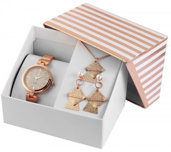 Excellanc Damen - Geschenkset Damenuhr Metallband mit Halskette und Ohrsteckern 1800186