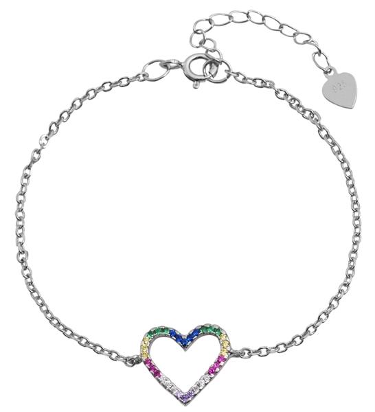 Giulia Luna - Armband 925er Silber rhodiniert 15+4 cm Herz Strass-Stein GL5240009