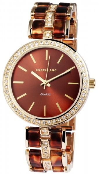 Excellanc Damen-Uhr Metallarmband Kunststoff Clipverschluss Analog Quarz 1800051