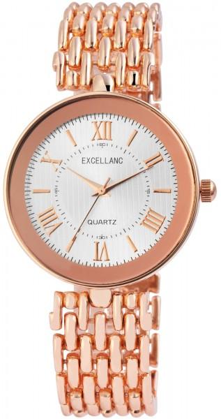 Excellanc Damen – Uhr Metall Armbanduhr Faltschließe Analog Quarz 1800128