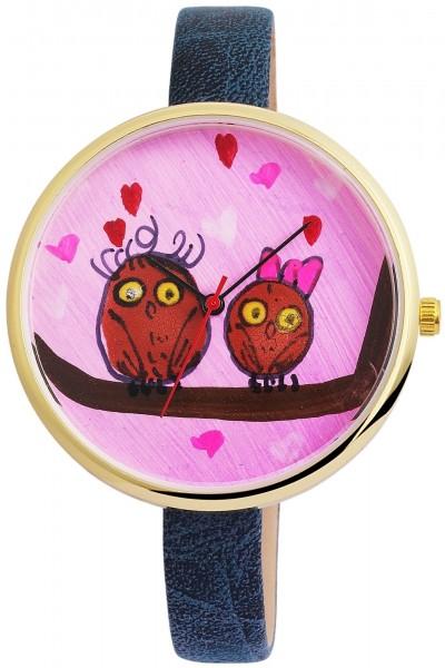 Excellanc Damen-Uhr Lederimitations Armbanduhr handgemalte Motive 1900020