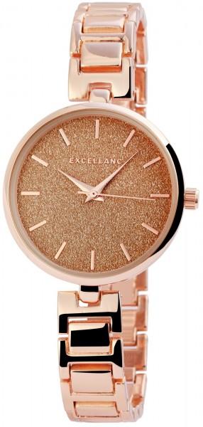Excellanc Damen-Uhr Metallarmband Clipverschluss Glitzer Analog Quarz 1800119