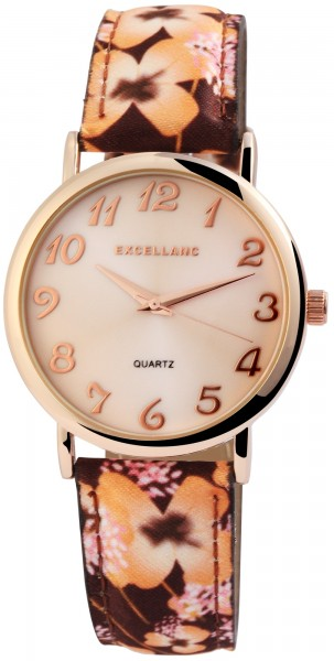 Excellanc Damen – Uhr Lederimitations Blumen Armbanduhr Analog Quarz 1900177