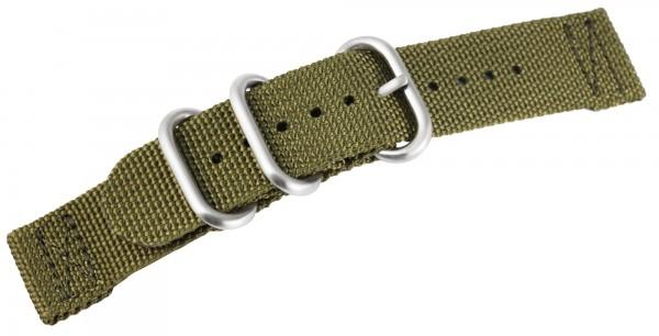 Uhrenarmband aus Nylon, olivgrün mit Edelstahldornschließe