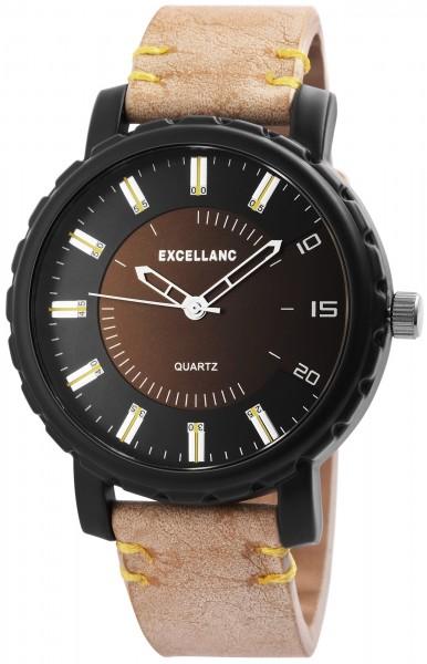 Excellanc Herrenuhr mit Lederimitationsarmband - 2900043