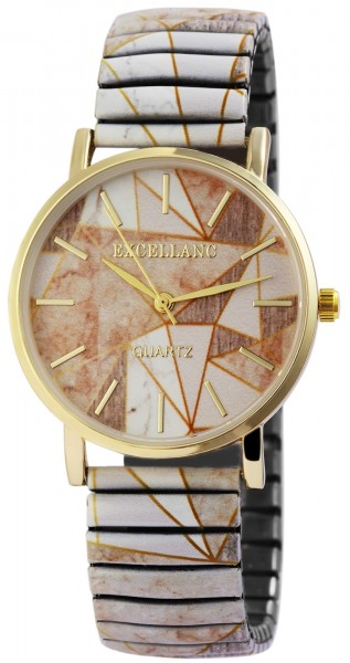Excellanc Damen - Uhr mit Zugarmband Analog Quarz Metall Armbanduhr 1700047