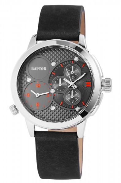 Raptor Herren - Uhr Oberseite Echtleder 2 Zeitzonen Lumina Analog Quarz RA20112