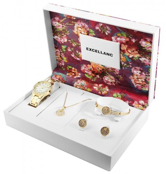 Excellanc Damen - Geschenkset Armbanduhr Halskette Ohrringen Armreif 1800204
