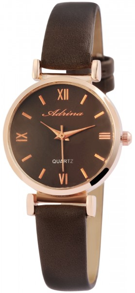 Adrina Damen-Uhr Metall Lederimitat Dornschließe Rund Elegant Analog Quarz 1900127
