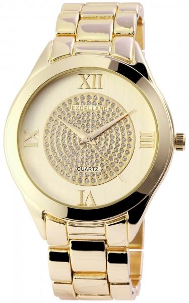 Excellanc Damen-Uhr Metallarmband Clipverschluss Strass Analog Quarz 1800084
