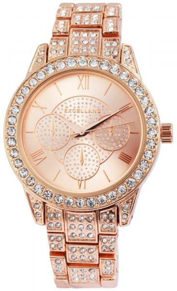 Excellanc Damen-Uhr Gliederband Metall Strass Clipverschluss Analog Quarz 1800140