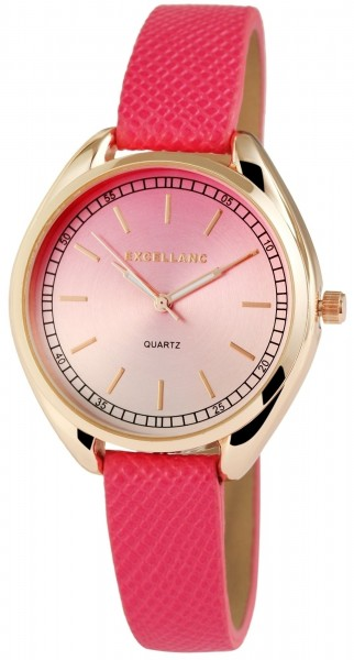 Excellanc Damen – Uhr Lederimitat Armbanduhr Dornschließe Analog Quarz 1900055