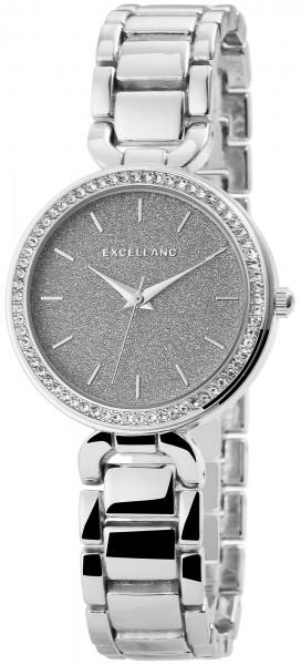 Excellanc Damen-Uhr Metallarmband Clipverschluss Strass Analog Quarz 1800096