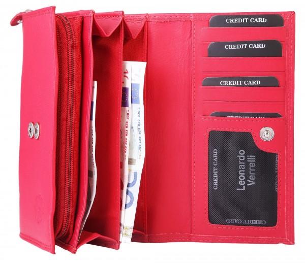 Leonardo Verrelli Damen – Geldbörse Echtleder Portemonnaie RFID 17x9 cm 3000346