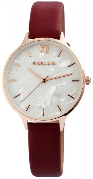 Excellanc Damen - Uhr Lederimitations Armbanduhr Analog Quarz 1900152