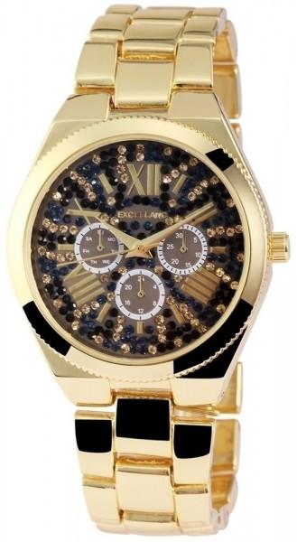 Excellanc Damen - Uhr Strass Chrono-Look Analog Metall Quarz Armbanduhr 1800052