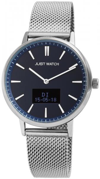 Just Watch-Damenuhr JW107 Hybrid Smart Watch Edelstahl Meshband Melanaise JW10059
