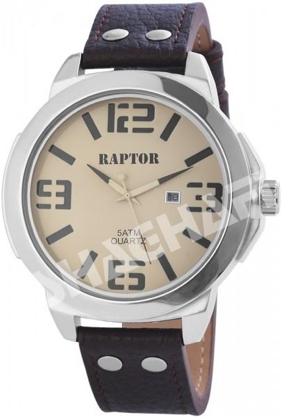 Raptor Herren-Uhr Echt Leder Armband Datum Analog Quarz RA20069