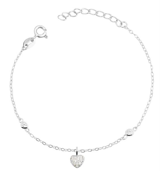 Giulia Luna Damen-Armband 925er Silber Herz Strass 17+3 cm Armkettchen GL5240017
