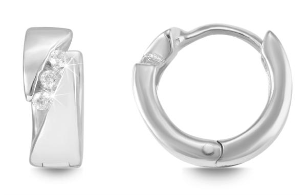 Giulia Luna Damen – Creolen 925er Silber rhodiniert Ohrringe Strass GL5200059