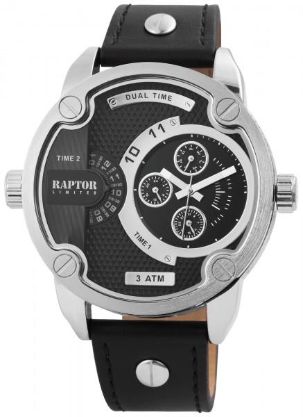 Raptor Limited Herren-Uhr Echtlederarmband Analog Armbanduhr Quarz RA20225