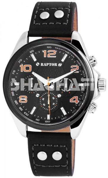 Raptor Herren-Uhr Armband Oberseite Echtleder Dornschließe Analog Quarz RA20127