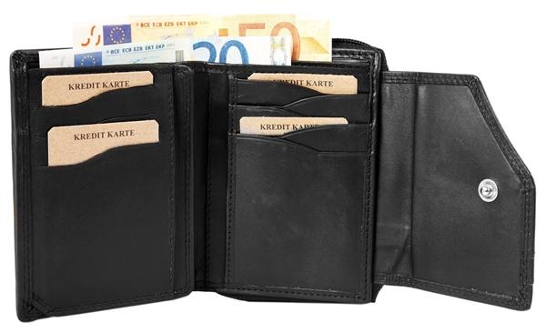 Akzent Damen - Geldbörse Echt Leder Portemonnaie Querformat 13 x 10cm 3000247