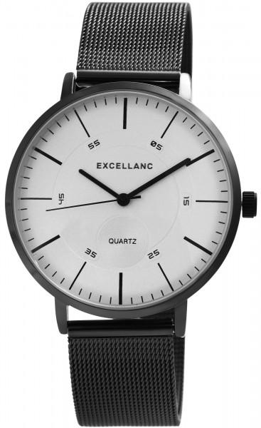 Excellanc Herren-Uhr Meshband Edelstahl Hakenverschluss Analog Quarz 2300013