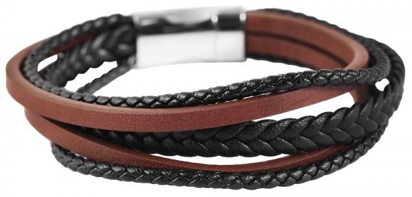 Akzent Unisex - Armband aus Echtleder mit Edelstahl Länge 21,5 cm 5040255