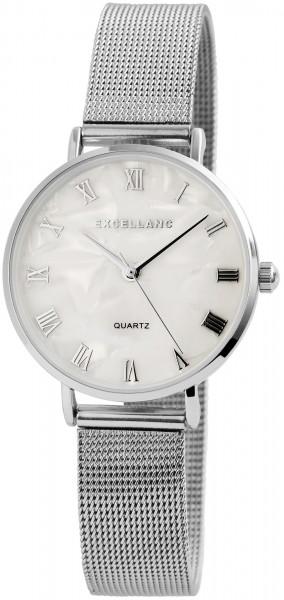 Excellanc Damen-Uhr Mesharmband Edelstahl Hakenverschluss Analog Quarz 1800095