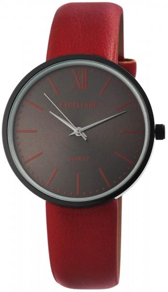 Excellanc Damen-Uhr Lederimitat Dornschließe Analog Quarz 1900112
