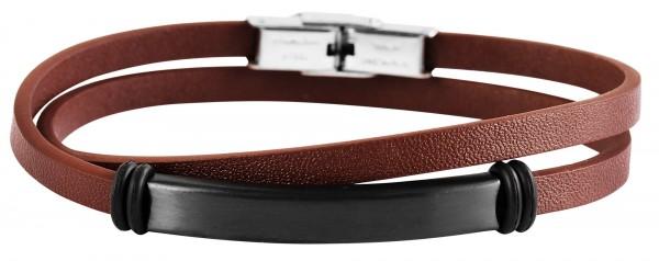 Akzent Damen - Wickelarmband aus Echtleder mit Edelstahl Länge 42 cm 5040095