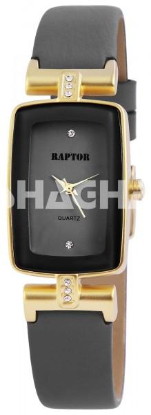 Raptor Damen-Uhr Echtleder Armbanduhr Dornschließe Analog Quarz RA10083
