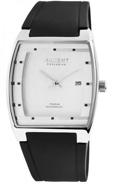 Akzent Exclusive Herren - Uhr Silikon Armbanduhr Datum Eckig Analog Quarz 2500002