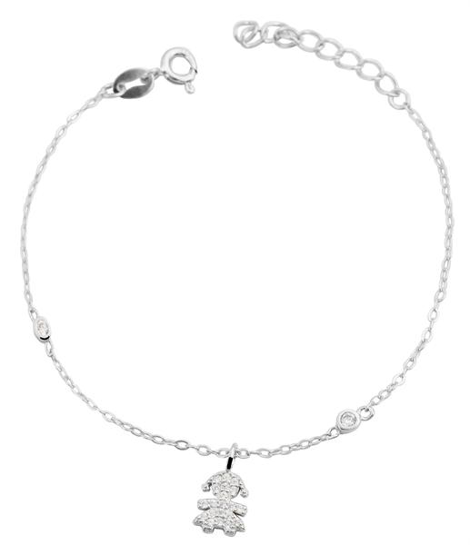 Giulia Luna-Armband 925er Silber Mädchen Strass rhodiniert 14+3 cm GL5240021