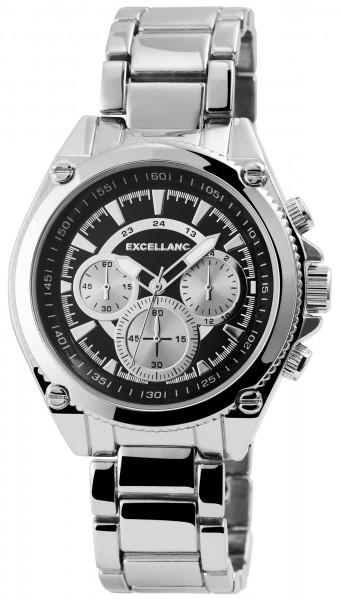 Excellanc Herren-Uhr Gliederarmband Metall Leuchtzeiger Analog Quarz 2800047
