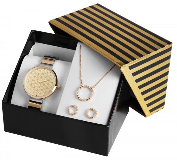 Excellanc Damen - Geschenkset Damenuhr mit Halskette und Ohrringen 1800187