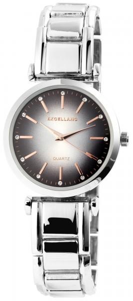 Excellanc Damen-Uhr Metallarmband Clipverschluss Strass Analog Quarz 1800078