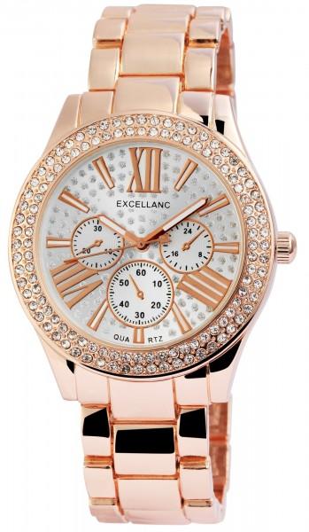 Excellanc Damen-Uhr Gliederarmband Metall Strass Leuchtzeiger Analog Quarz 1800151