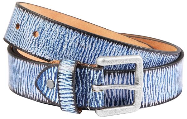 Leonardo Verrelli Echt Leder Gürtel, blau/braun