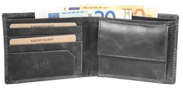 Akzent Herren - Geldbörse Echt Leder Portemonnaie Querformat 11,5x9,5cm 3000263