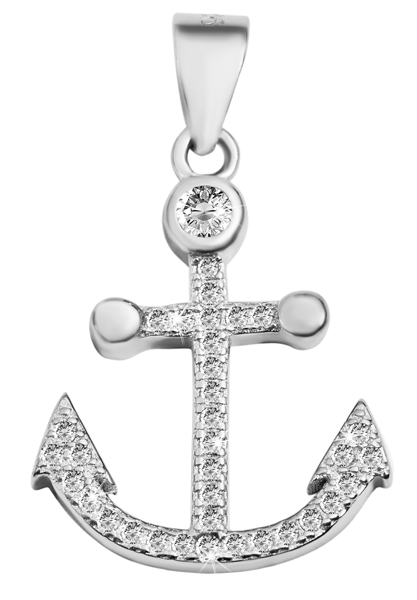 Giulia Luna-Halskette Anhänger Anker Maritim 925er Silber Strass GL5210089