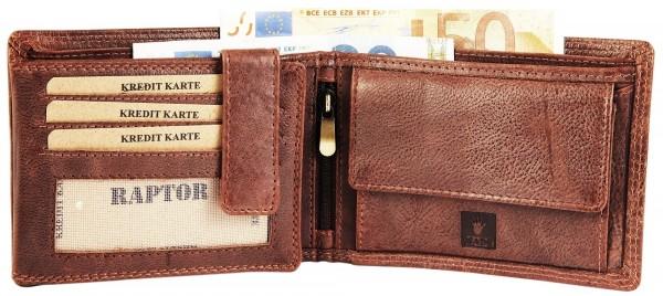 Raptor Herren Geldbörse aus Echtleder. Format 12 x 9 cm.