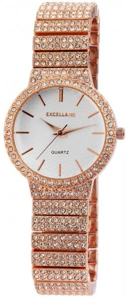 Excellanc Damen-Uhr Metallband Strass-Steine Clipverschluss Analog Quarz 1800124