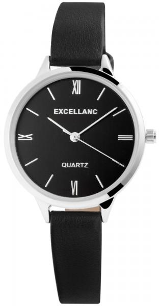 Excellanc Damen-Uhr Lederimitat Dornschließe Rund Analog Quarz 1900165