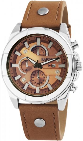 Raptor Herren-Uhr Armband Oberseite Leder Analog Quarzwerk RA20026